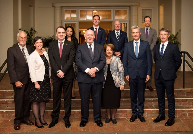Dr Max Whitten (WBF), Jodie Goldsworthy (Apimondia), HE Jurij Rifelj, Slovenian Ambassador, wife of Slovenian Ambassador, HE General The Honorable Sir Peter Cosgrove and HE Lady Cosgrove, HE Pedro Zwahlen, Ambassador of Switzerland, Peter McDonald (Chair AHBIC). back row L to R: Minister Chris Steel (MLA), Minister Mick Gentleman (MLA), Minitser Shane Rattenbury (MLA)